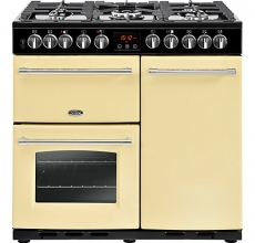 Belling Farmhouse Range Cooker 90DFT Deluxe Cream Dual Fuel
