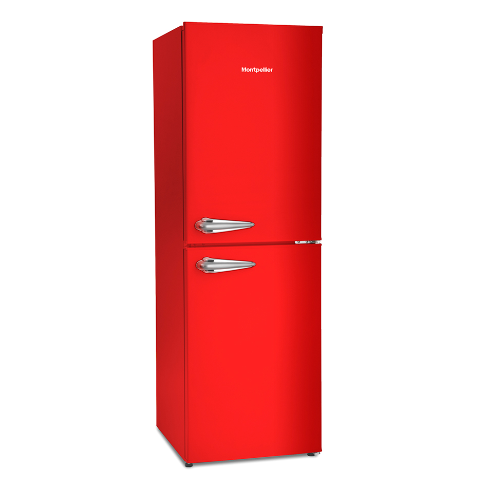 Range Style Cookers >> Montpellier Fridge Freezer MAB148R Red